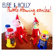 Elf bubble blowing contest