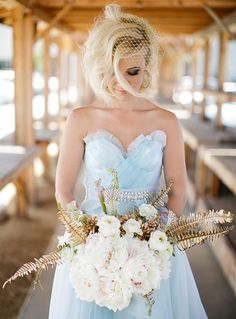b e a n i p e t: Inspirations - Wedding Vow Renewal with Gold Fern & Blue Hues