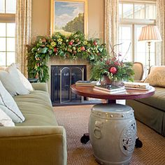 Idea House - Decked Out for Christmas | Dress the Mantel | SouthernLiving.com