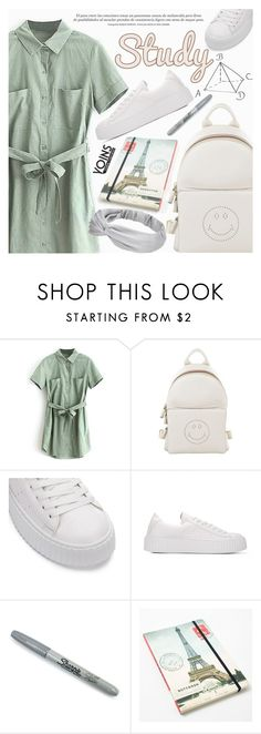 """Yoins 12:School Style"" by pokadoll ❤ liked on Polyvore featuring Anya Hindmarch, Sharpie, Cavallini and yoins"