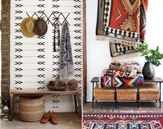 REncontre avec le look Navajo en décoration. Décoration pour un couloir ou une entrée. Des tentures à motifs accrochées aux murs.