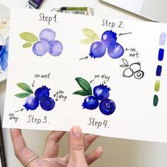 Blueberries watercolor step by step Watercolor Paintings For Beginners, Watercolor Art Lessons, Watercolour Tutorials, Watercolor Drawing, Watercolor Techniques, Painting & Drawing, Fruits Drawing, Watercolor Fruit, Arte Sketchbook