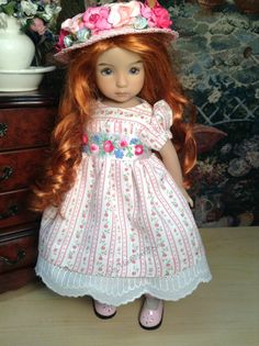 Effner Little Darling Doll 'Rose Trellis' Dress Ensemble with Slip Hat and Sash | eBay