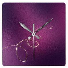Plum  Faux Gold Crystals Frozen Glass Infinity Square Wall Clock - minimal gifts style template diy unique personalize design