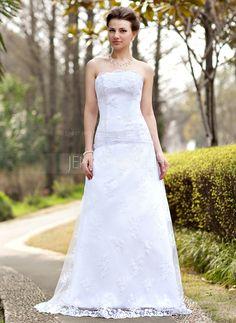 Bröllopsklänningar - $176.99 - A-linjeformat Axelbandslös Sweep släp Satäng Spetsar Bröllopsklänning med Rufsar (002000127) http://jennyjoseph.com/A-Linjeformat-Axelbandslos-Sweep-Slap-Satang-Spetsar-Brollopsklanning-Med-Rufsar-002000127-g127