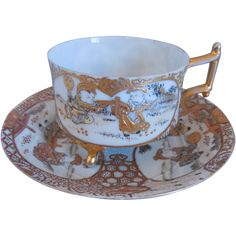 19th Century Antique Japanese Satsuma Hand Painted Porcelain Cup And Saucer, Footed, Raised Gold Gilt, Enamel, Artist Signed - Tea Cup Teacup