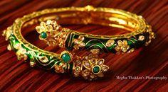 Green kada bangle with studded stones
