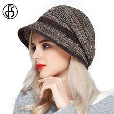 2166ab24 US $37.0 |FS Fashion Black Berets Hat For Women Winter Visor Cap Brown  Artist Boina Acrylic Knit Hats Gorras Planas Vintage Flat Caps -in Women's  Berets ...