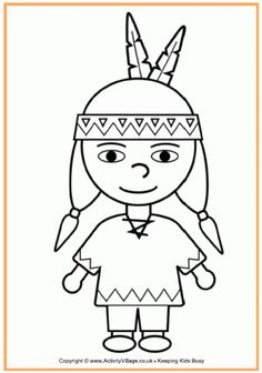 Pilgrim Boy and Girl Outlines | native american boy colouring page here s a cute native american boy ...