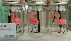 Flamingo mason jar with straw