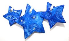 Favor Gift Ornament blue STAR Snowflake by MademoiselleAdriana,