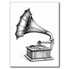Vintage Phonograph Record Player Music Instrument Postcard | Zazzle