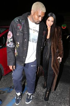 Kanye West wearing  Gosha Rubchinskiy Printed Track Pants, Adidas Gazelle Sneakers, Gosha Rubchinskiy 032c Youth Hotel Longsleeve, Gucci Custom Embroidered Denim Jacket