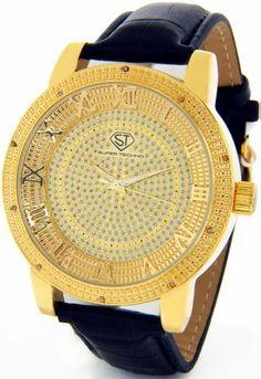 mens diamond watches techno master diamond watch 1ct tm 2134 a super techno diamond watch by joe rodeo mens genuine diamond watch oversized gold case leather band