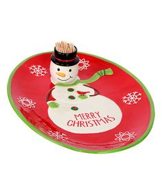 Look what I found on #zulily! 'Merry Christmas' Platter & Toothpick Holder #zulilyfinds