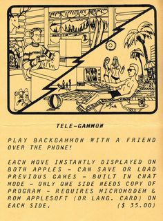 Flyer ad for Tele-Gammon program (1981). One Sided, Telephone, Connection, Software, Cards, Phone, Maps, Playing Cards