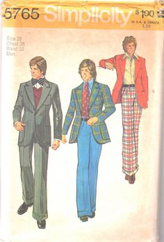 Simplicity  5765 1970s Mens Fitted  Unlined Jacket and Wide Leg vintage sewing pattern by mbchills