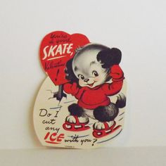 Vintage Valentine's Day Card ice skating puppy by KerrysBungalow