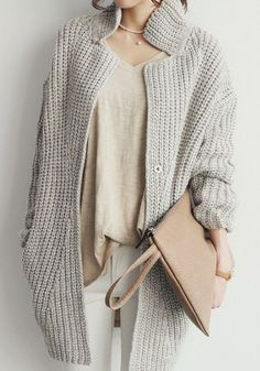 Fashion : Fall / Winter. Grey Oversized Cardigan. $41