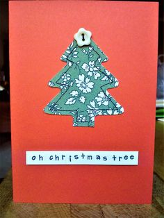 Handmade sewn Christmas tree card made with Liberty fabric and a button