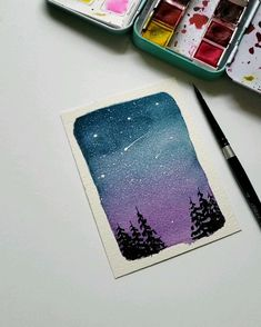 Using jane Davenport watercolors acuarela Simple night sky - Malerei Watercolor Painting Techniques, Easy Watercolor, Watercolour Tutorials, Watercolour Painting, Watercolor Night Sky, Night Sky Painting, Galaxy Painting, Jane Davenport Watercolors, Mini Canvas Art