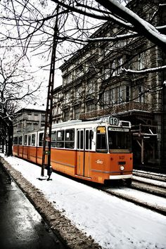 The perfect design for a Modern City Tram in winter, Hungary