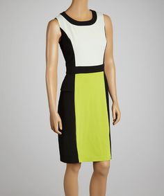 Love this Black & Lime Color Block Sheath Dress by Glamour on #zulily! #zulilyfinds