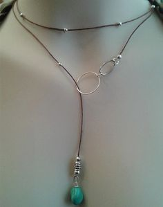 No clasps hassle necklace, wrap around lariat turquoise choker, long, bohemian, hippie chick, st. silver beads