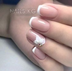 Beautiful Wedding Nail Art Designs With French Style - Gelish Nails, 3d Nails, Cute Nails, Pretty Nails, Acrylic Nails, Nails Now, Bride Nails, Wedding Nails Design, Nagel Gel