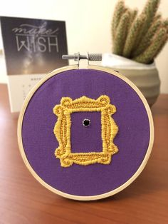 Embroidery Projects Friends TV Show peephole frame, embroidery hoop - Simple Embroidery, Learn Embroidery, Hand Embroidery Stitches, Silk Ribbon Embroidery, Hand Embroidery Designs, Embroidery Techniques, Embroidery Kits, Cross Stitch Embroidery, Knitting Stitches