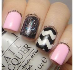 Baby pink with chevron and a glittery black