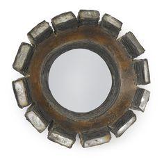 Line Vautrin MIRROR incised LINE VAUTRIN talosel and mirrored glass 7 5/8 in. (19.4 cm) diameter circa 1970