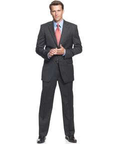 Jones New York Suit 24/7 Charcoal Solid Athletic Fit