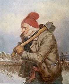 The Woodcutter, 19th C, Cornelius Krieghoff -- A-Z Blog Prompt --- M is for Maroon Red --- #fineart #blogging #atozchallenge #aprilatoz #writing
