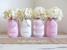 Pink And White Baby Shower Decorations Mason Jars Bridal