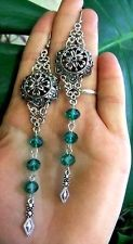 FILIGREE TEAL GREEN CRYSTALS EARRINS, ethnic, Belly dance