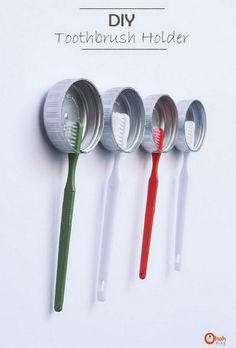Use these recycled bottle caps to store your toothbrushes, http://hative.com/clever-bathroom-storage-ideas/