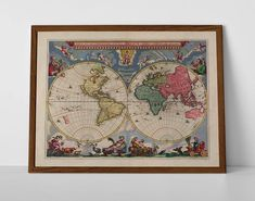 Old Map of The World, originally created by Willem Janszoon Blaeu, now available as a 'museum quality' vintique wall decoration print. Antique World Map, Old World Maps, Vintage World Maps, World Map Poster, World Globes, Historical Maps, Travel Posters, Giclee Print, Wall Decor