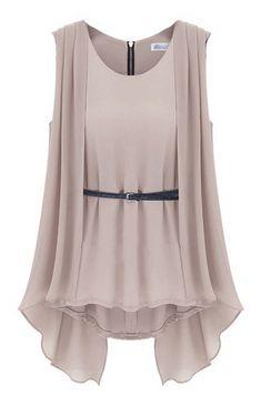 Khaki Sleeveless Back Zipper Asymmetrical Chiffon Blouse -SheIn(Sheinside) Mobile Site