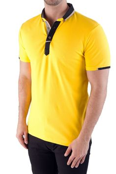 *Collar, Cuff and Placket Detailing *Contrast Sleeve Tab *Pique Polo *Cotton Stretch 5116 Yellow Yellow Polo Shirt, Polo Rugby Shirt, Mens Polo T Shirts, Rugby Shirts, Camisa Polo, One Direction Shirts, Polo Shirt Outfits, Matching Couple Shirts, Simple Shirts