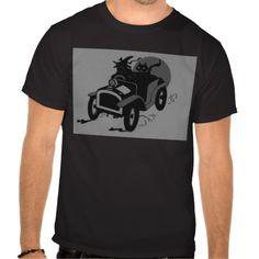 Monochrome Witch Black Cat Car T-shirt