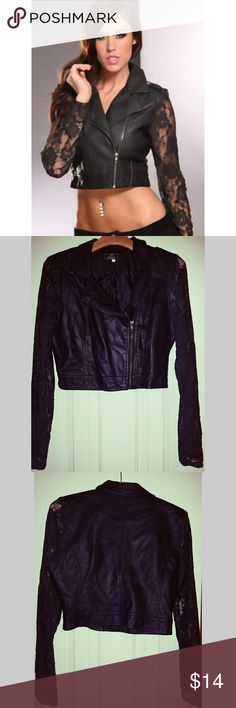 Faux leather jacket with lace sleeves Faux leather jacket with lace sleeves - great condition - bundle and save - next day shipping! Ashley By 26 International Jackets & Coats