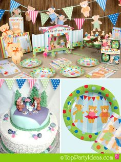Teddy Bear Party Ideas or Teddy Bear Tea Party with plates, banners, centerpiece, cake toppers, teddy bear picnic cake, teddy bear plate