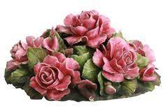 Antique Floral Ceramic Centerpiece