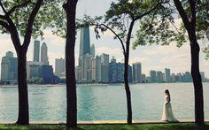 Olive park wedding portraits, chicago il.