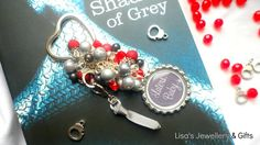 Beautiful 50 Shades - LATERS BABY  Bag Charm Keyring in Greys, Reds Black & Silv £7.50