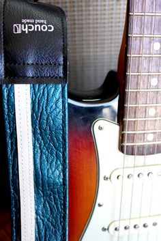 $44.95  Ah, wish I could order this now!!  Vintage Blue Racing Stripe Guitar Strap- 1970's Car Vinyl