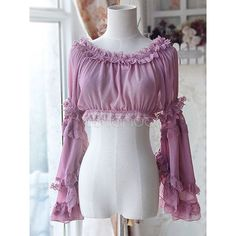 Sweet Chiffon Purple Light Purple Lolita Short Blouse Long Hime... ❤ liked on Polyvore featuring tops, blouses, purple blouse, purple chiffon blouse, short sleeve tops, short sleeve blouse and long tops