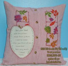Shirt pillow/Slipcover/Slipcover ONLY/Custom pillow/keepsake/handmade/from shirt/in memory of/loved one/father Small Pillows, Diy Pillows, Custom Pillows, Pillow Ideas, Shirt Pillows, Handmade Pillows, Cushions, Memory Pillows, Memory Quilts
