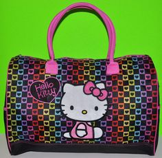 4aeb32c33f HELLO KITTY LARGE DUFFLE BAG HEARTS TOTE BAG OVERNIGHT BAG DANCE BAG